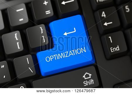 Optimization Button on Modern Laptop Keyboard. Optimization Close Up of Modern Laptop Keyboard on a Modern Laptop. Modernized Keyboard Key Labeled Optimization. 3D Illustration.
