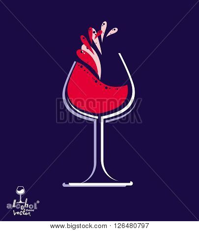 Beautiful vector wine goblet with splash alcohol theme illustration. Stylized art wineglass decorative romantic rendezvous object. Holiday and anniversary graphic element.