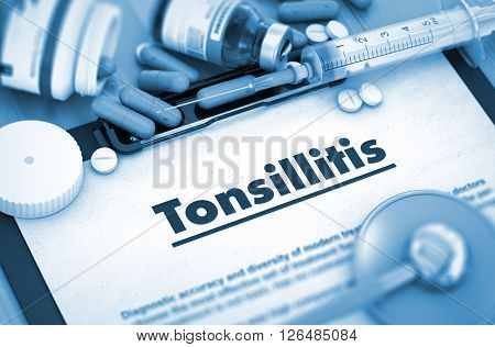 Diagnosis - Tonsillitis On Background of Medicaments Composition - Pills, Injections and Syringe. 3D.