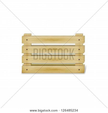 Vector illustration of a wooden box isolated on a white background.