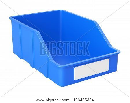 Empty plastick box for parts. Isolated on a white background 3d image