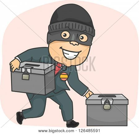 Illustration of a Masked Criminal Stealing Ballot Boxes