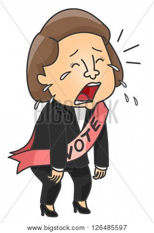 Illustration of a Female Candidate Crying After Losing