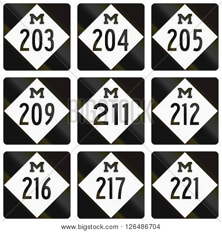 Collection Of Michigan Route Shields Used In The United States