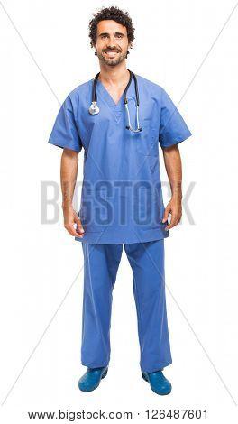 Male nurse full length portrait