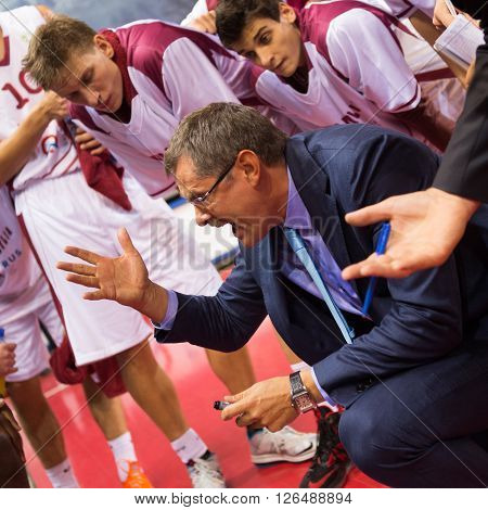 Bc Krasnye Krylia Head Coach Sergey Bazarevich During A Timeout