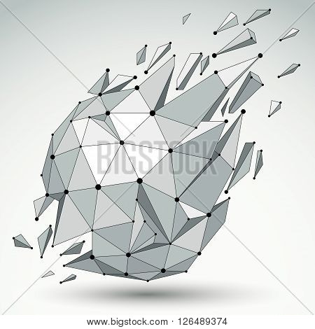 3D Vector Low Poly Spherical Object With Black Connected Lines And Dots, Geometric Wireframe Shape W
