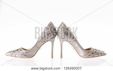 Sexy high heels photographed on white background