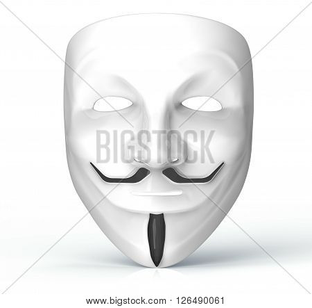White Mask Of A Computer Hacker Isolated On White