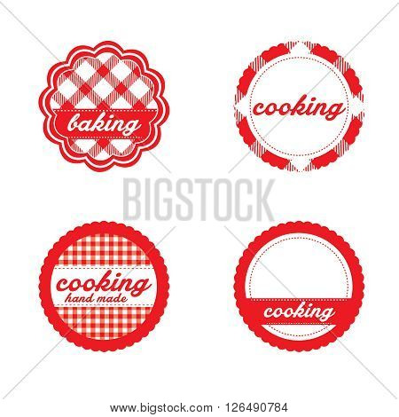 Vintage retro bakery labels red gingham. Concept of graphic clip art work