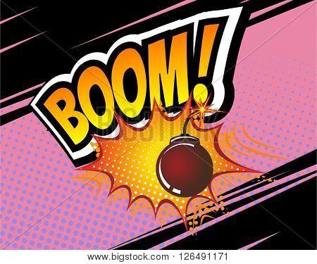 Boom! Vector Retro Comic Speech Bubble, Cartoon Comics Template. Mock-up of Comic Book Design Elements. Sound Effects, Colored Halftone Background. Boom bomb sound