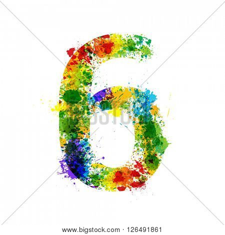 Color Paint Splashes. Gradient Vector Font Symbols. Watercolor Paint Splash Designer Decoration Alphabet. Color ink Number Symbols Isolated on a White Background. Paint Splash Number 6