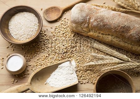 Home made bread wheat and kitchen utensils