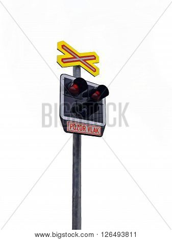 Railroad Level Crossing Sign without barrier or gate ahead the road beware of train sign in Cezch Republic
