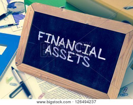Hand Drawn Financial Assets Concept  on Chalkboard. Blurred Background. Toned Image. 3D Render.