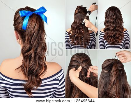 simple hairstyle pony tail on curly hair tutorial. Hairstyle for long hair. Sea style