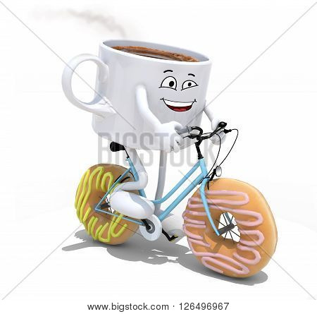 Cartoon Coffee Cup Riding Bicycle With Donuts Instead Wheels