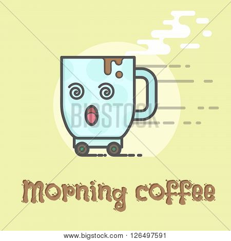 Sleepy cup of coffee on wheels in the morning