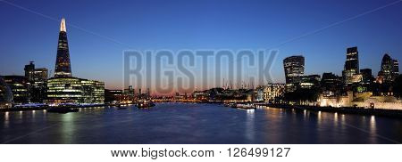 Panoramic London at night