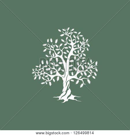 Beautiful white oak tree silhouette on green background. Modern vector sign.  Premium quality illustration logo design concept.