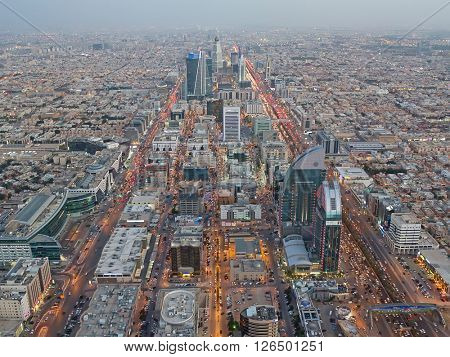 RIYADH - FEBRUARY 29: Aerial view of Riyadh downtown at the evening on February 29, 2016 in Riyadh, Saudi Arabia.