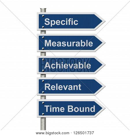 Writing your SMART Goals Five Blue Road Sign with text listing the SMART Goals isolated over white