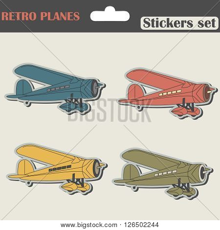 Planes Stickers Set in old and Retro  Vintage Style