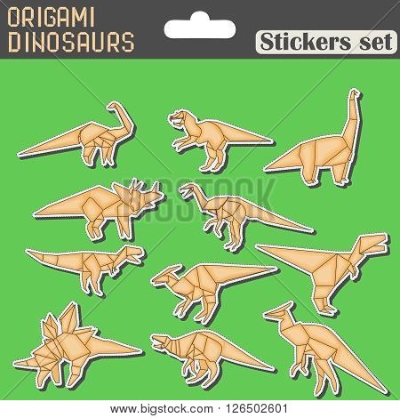 set of different origami dinosaurs for kids