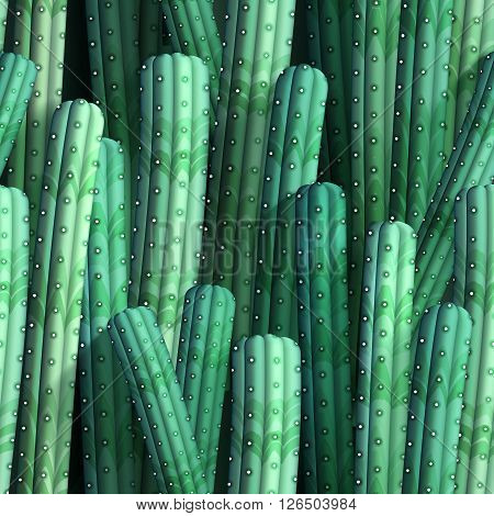 Background with realistic cacti. Seamless pattern, vector illustration, eps10.