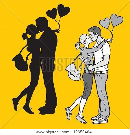 Silhouette and monochromatic illustration of lovers kissing