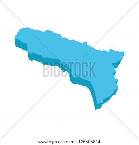 A map of Andorra 3D on white background