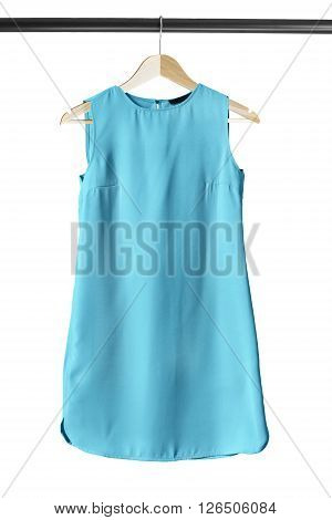 Blue basics mini dress on clothes rack isolated over white