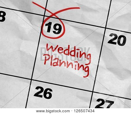 Concept image of a Calendar with the text: Wedding Planning