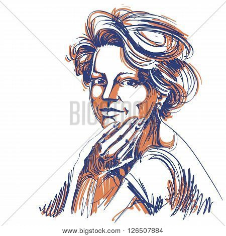 Vector Drawing Of Confident Elegant Woman With Stylish Haircut. Black And White Portrait Of Attracti