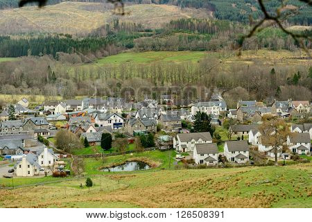 KILLIN SCOTLAND UK - 09 APRIL 2016: View of the village of Killin in the Scottish Highlands from Sron a'Chlachain
