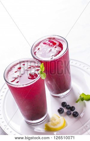 Thirst Quenching Iced Cold Lemonade Blueberry Cooler