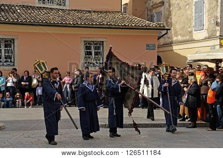 CORFU GREECE - APRIL 18 2009: Head of the Epitaph lament procession on the morning of Holy Saturday