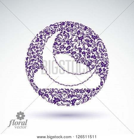 A New Moon with cloud beautiful vector art illustration floral lullaby conceptual icon nighttime symbol. Floral-patterned moony night abstraction.