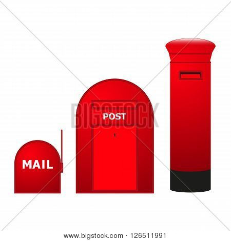 Vector image of three mailboxes. Isolated on white background.