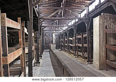 OSWIECIM, POLAND - DECEMBER 28, 2010: Inside of barrack in concentration camp Auschwitz, Brzezinka, Poland. 1.1 million people mostly Jews from allover Europe were killed in gas chambers
