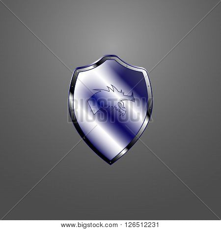 Vector image of a metallic shield with a dragon.