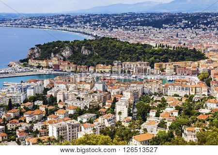 Nice panorama seen from Mt Boron. Nice French Riviera France.