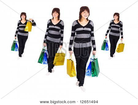 "one shopping girl walks smiling and laughing in four takes  - See similar images of this ""Gorgeous shopping women"" series in my portfolio"