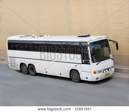 """white bus in motion  - See similar images of this """"Business vehicles"""" series in my portfolio"""