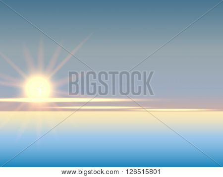 Sunset sky stratosphere background, pictured from plane. Vector illustration.