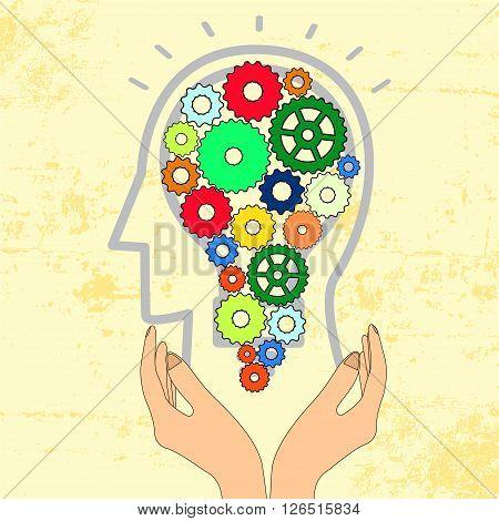 Bulb gear web engineering in head, wielding  on hand , Business idea. Vector illustration.