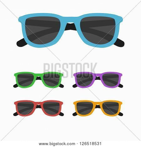 Sun glasses set vector illustration. Sun glasses  icon set  isolated. Sun glasses summer symbol. Sun glasses set for traveling design. Summer time vacation Sun glasses isolated icon