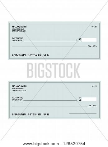 A vector illustration of a set of checks