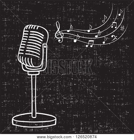 Old microphone and music notes, hand drawn vector. Vintage music background.