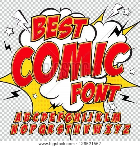 Creative high detail comic font. Alphabet in the red style of comics, pop art. Letters and figures for decoration of kids' illustrations, websites, posters, comics and banners.